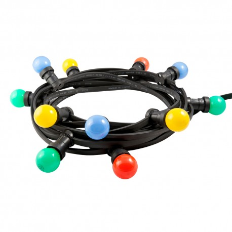 Black festoon lighting chain 40 colorful bulbs / 20 meters 40x20