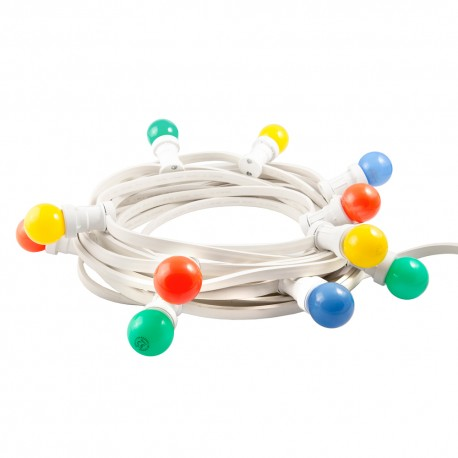 White festoon lighting chain 20 colorful bulbs / 10 meters 20x10